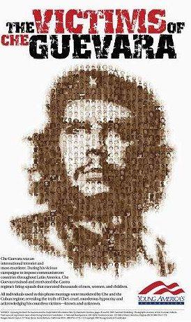 Póster realizado con los rostros de las víctimas asesinadas por el Ché Guevara